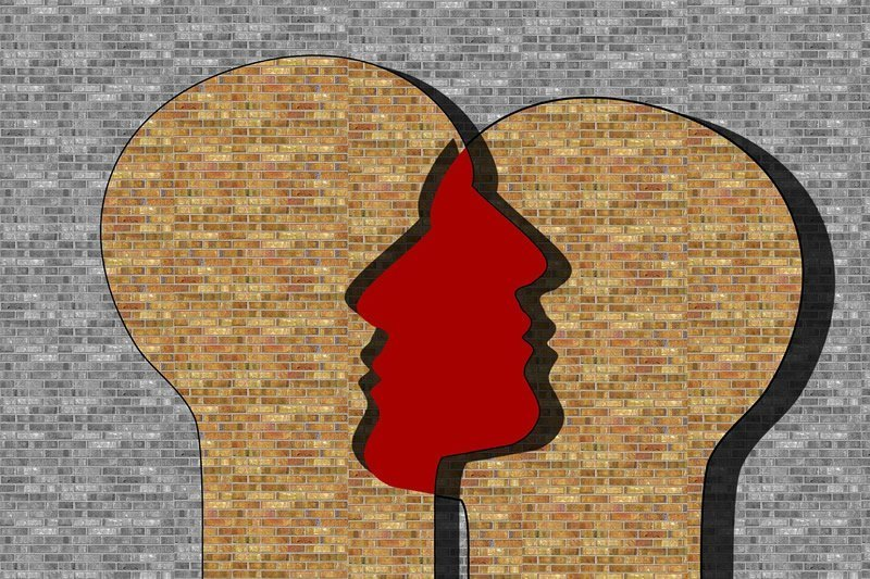 two faces are shown