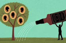This is a cartoon of a person watering a family tree with alcohol