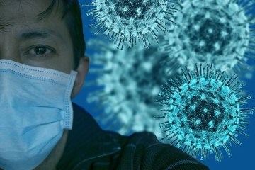 This shows a man in a surgical mask and covid 19