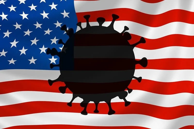This shows the american flag and covid19