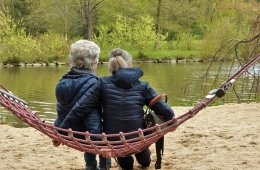 This shows an older person and a young person on a hammock