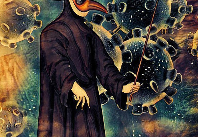 This shows a man in a plague mask and covid19