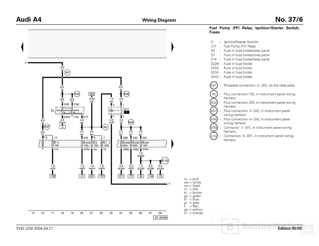 Cc1e7 B5 S4 Fuse Diagram