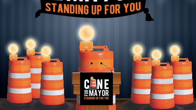 Sentient Network of Construction Cones becomes frontrunner in latest New Orleans mayoral poll