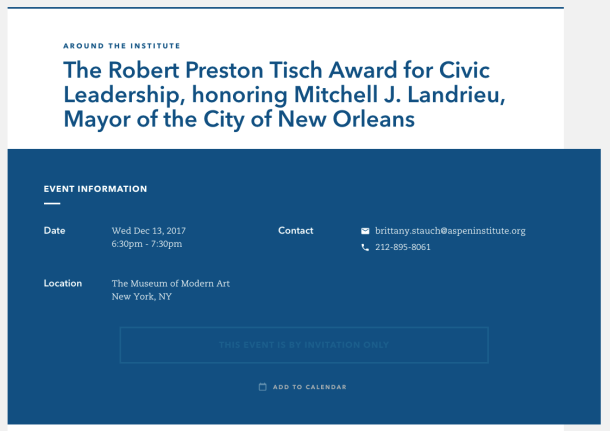 New Orleans Mayor Mitch Landrieu award