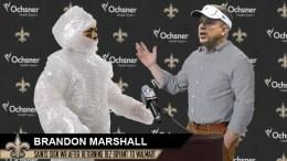 New Orleans Saints very, very carefully introduce newly signed Brandon Marshall