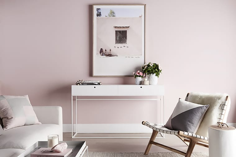 Dusty blush paint on wall
