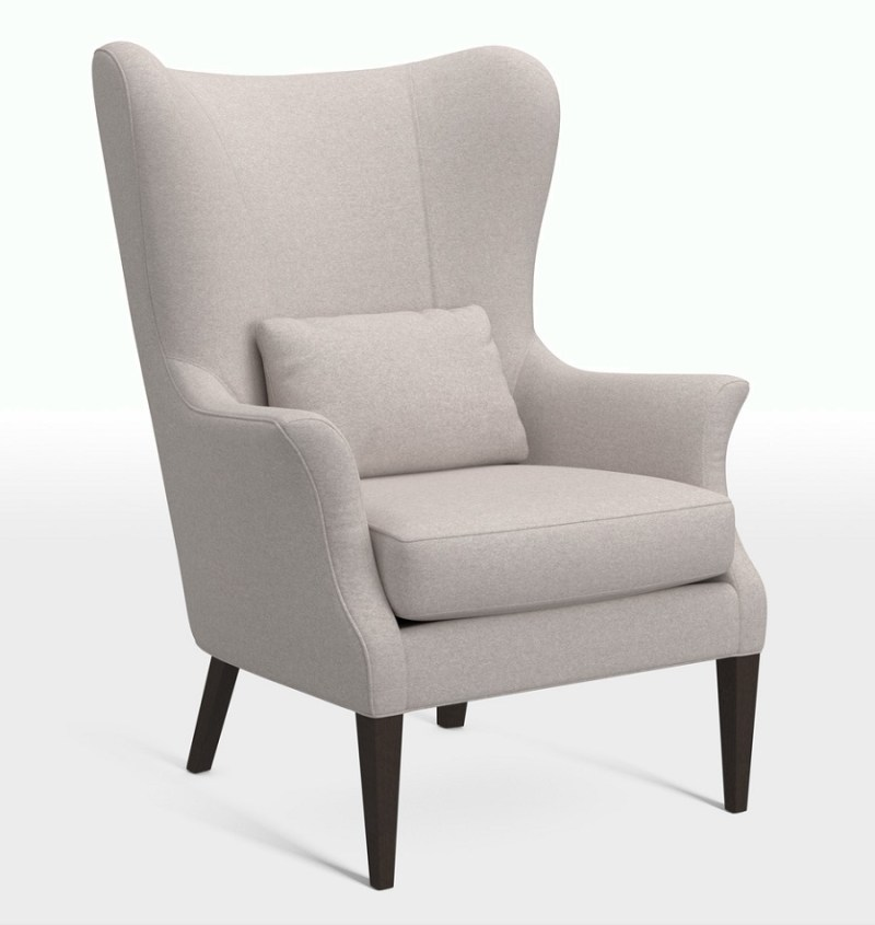 Modern wing chair with traditional vibe