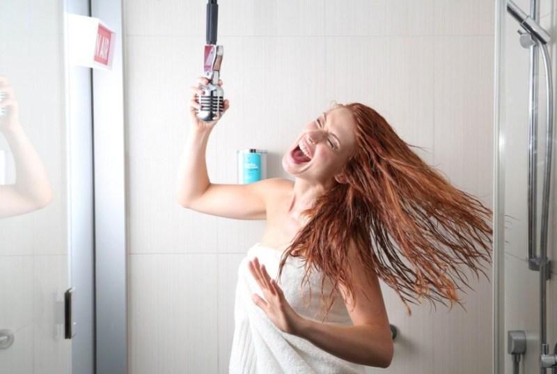 Singing while taking shower