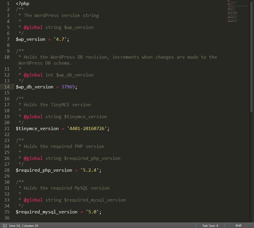 wordpress version php