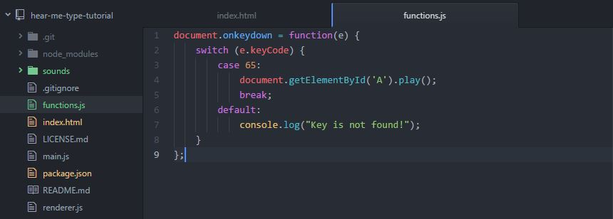 hear me type javascript function atom neutron dev