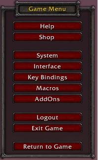 world of warcraft game menu