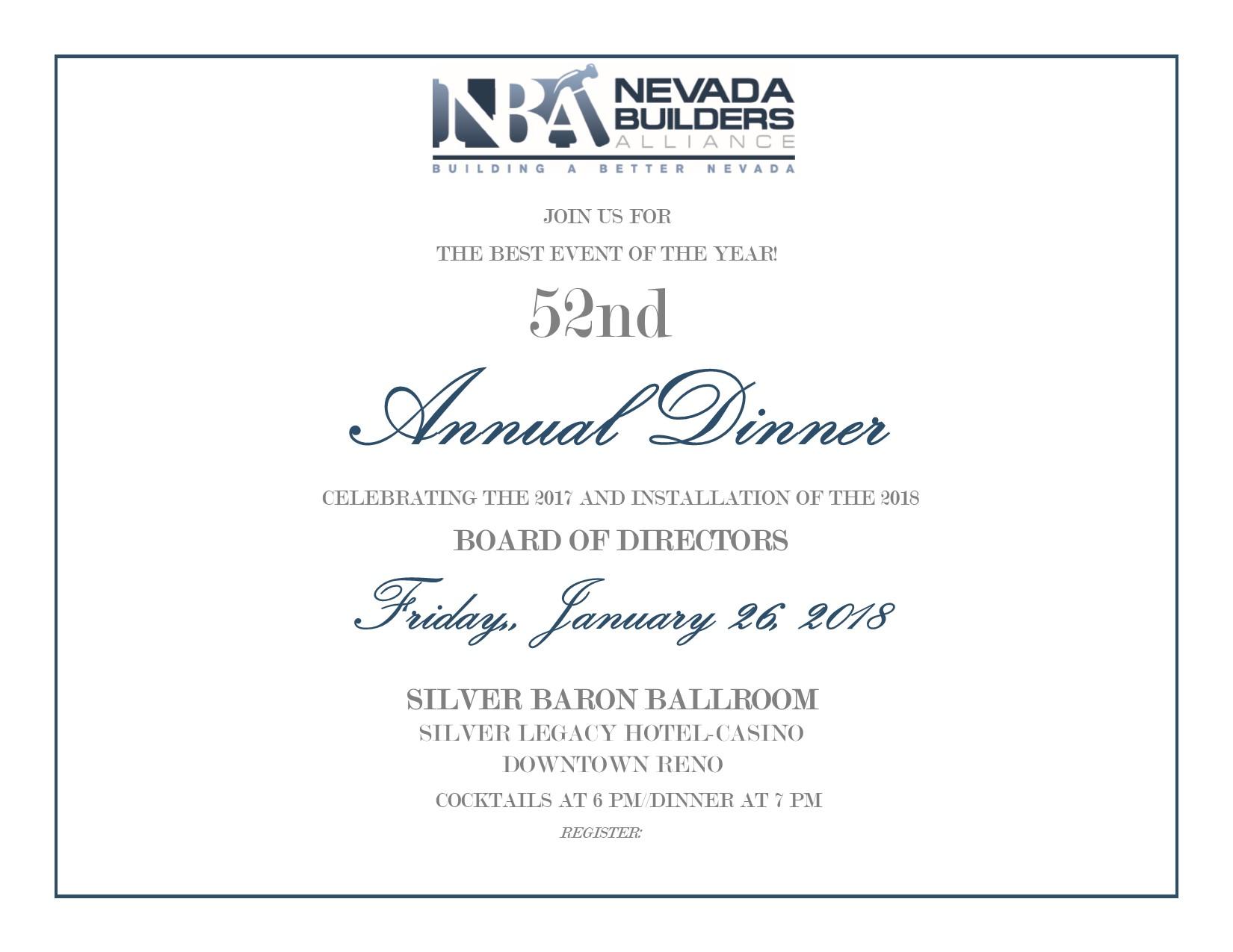 2018 Annual Dinner invitation