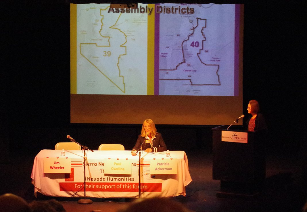 Republican Jim Wheeler did not participate in the forum. Democrat Patricia Ackerman spoke to the gathering and answered audience questions - image - Kristin Simons, Nevada Capital News.
