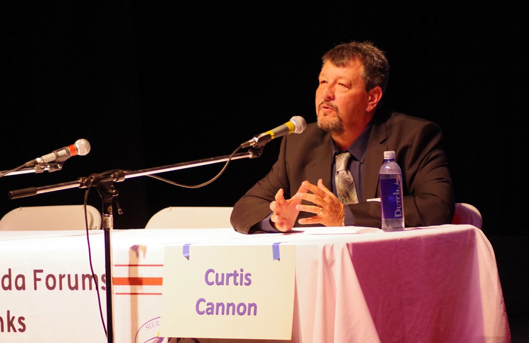 Republican and incumbent James Settelmeyer was invited but did not participate in the forum. Democrat Curtis Cannon spoke to the gathering and answered audience questions - image - Kristin Simons, Nevada Capital News.