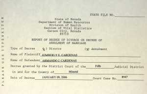 Example Nevada Divorce Record
