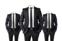 business man in black suit with no face