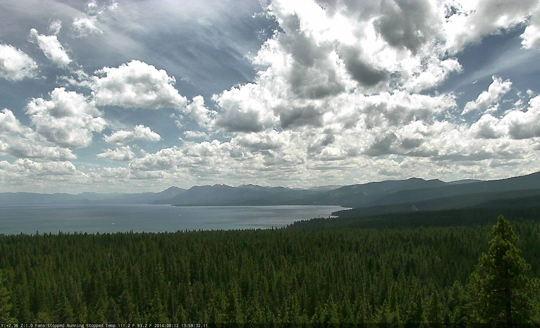 View from Lake Tahoe north shore fire cam.