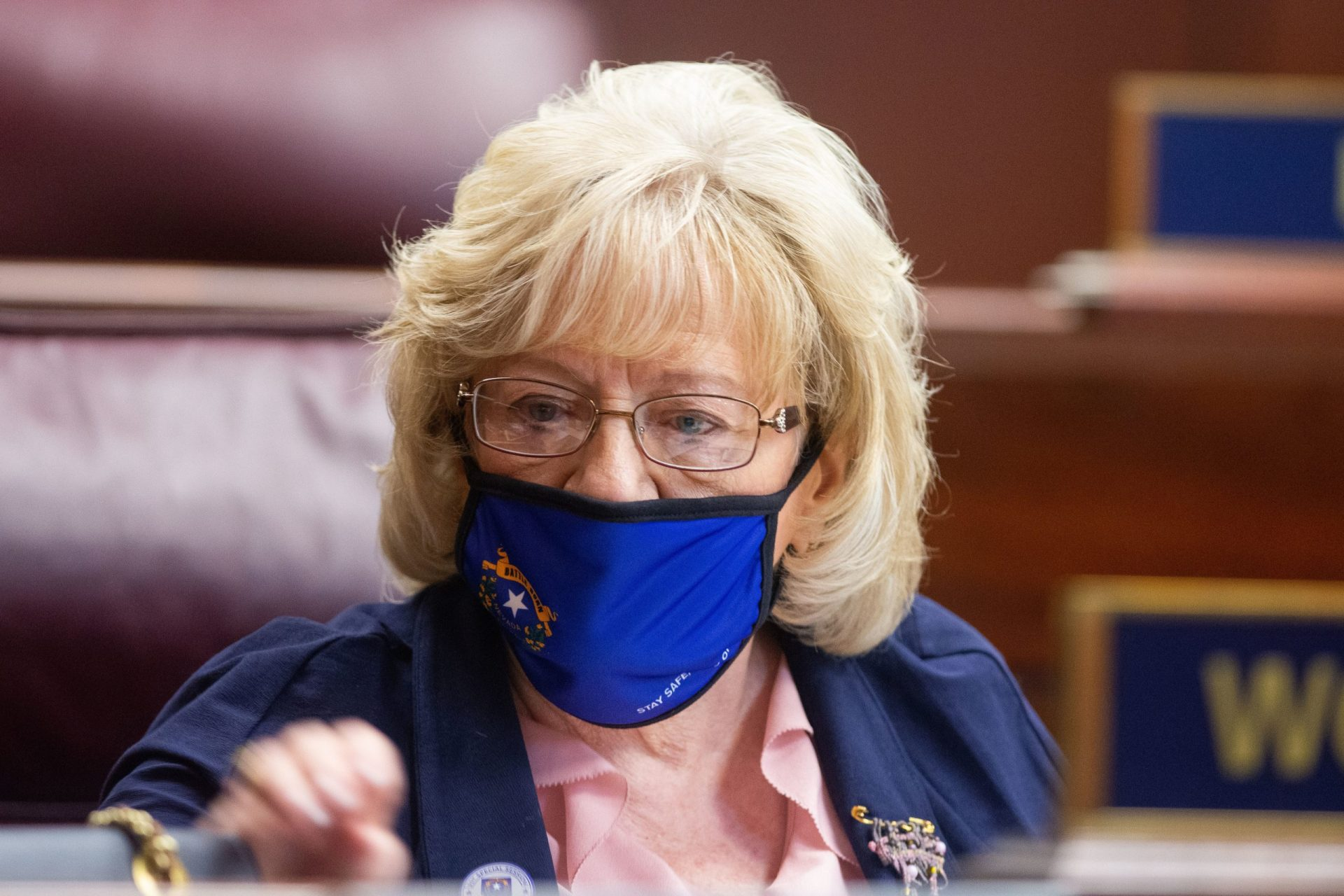 Nevada State Senator, Joyce Woodhouse, inside the Senate chambers at the Nevada Legislature on the first day of the 31st Special Session in Carson City, Nev., on Wednesday, July 8, 2020. (David Calvert/The Nevada Independent)