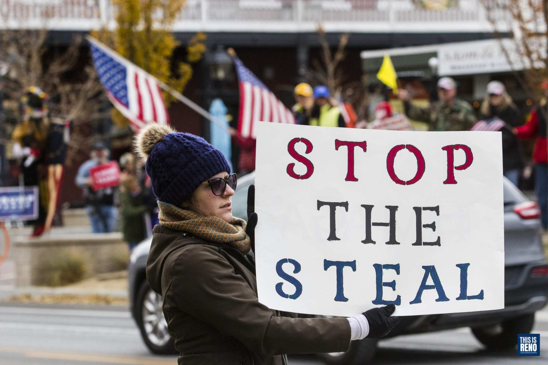 "Protesters gathered in Carson City Nov. 7 in support of the Trump campaign's ""Stop the Steal"" effort."