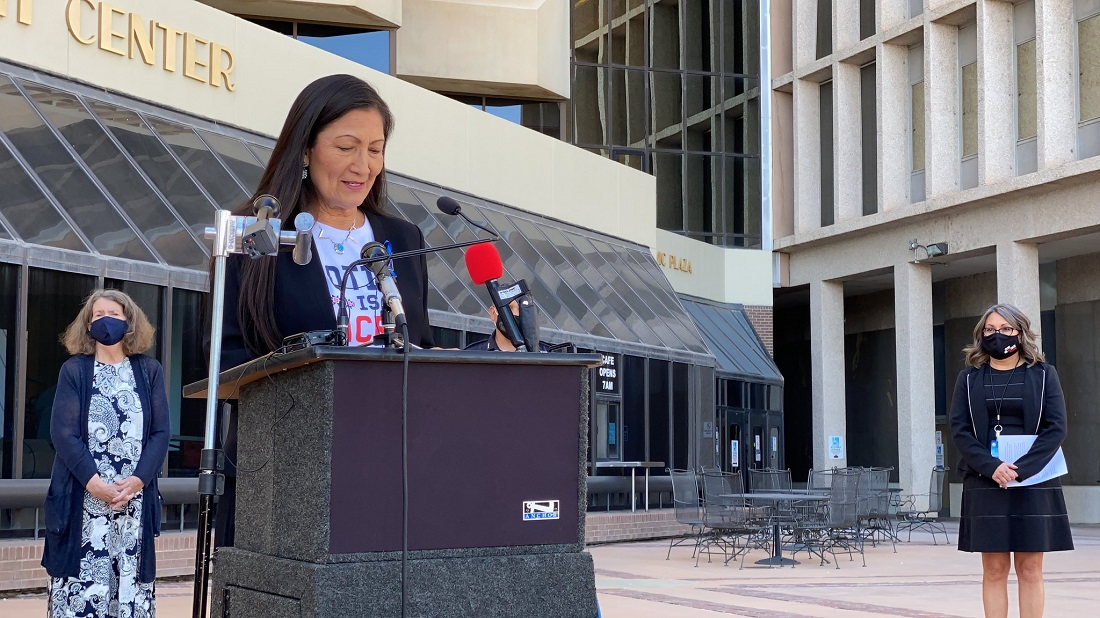 New Mexico Democratic Rep. Debra Haaland at a press conference on voting rights in Albuquerque in October. (Haaland congressional website photo)