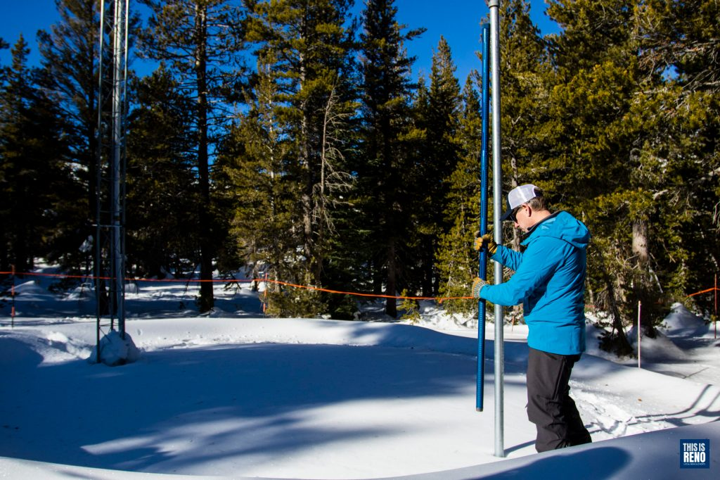NCRS's Jeff Anderson checks the Sierra snowpack in January 2020.