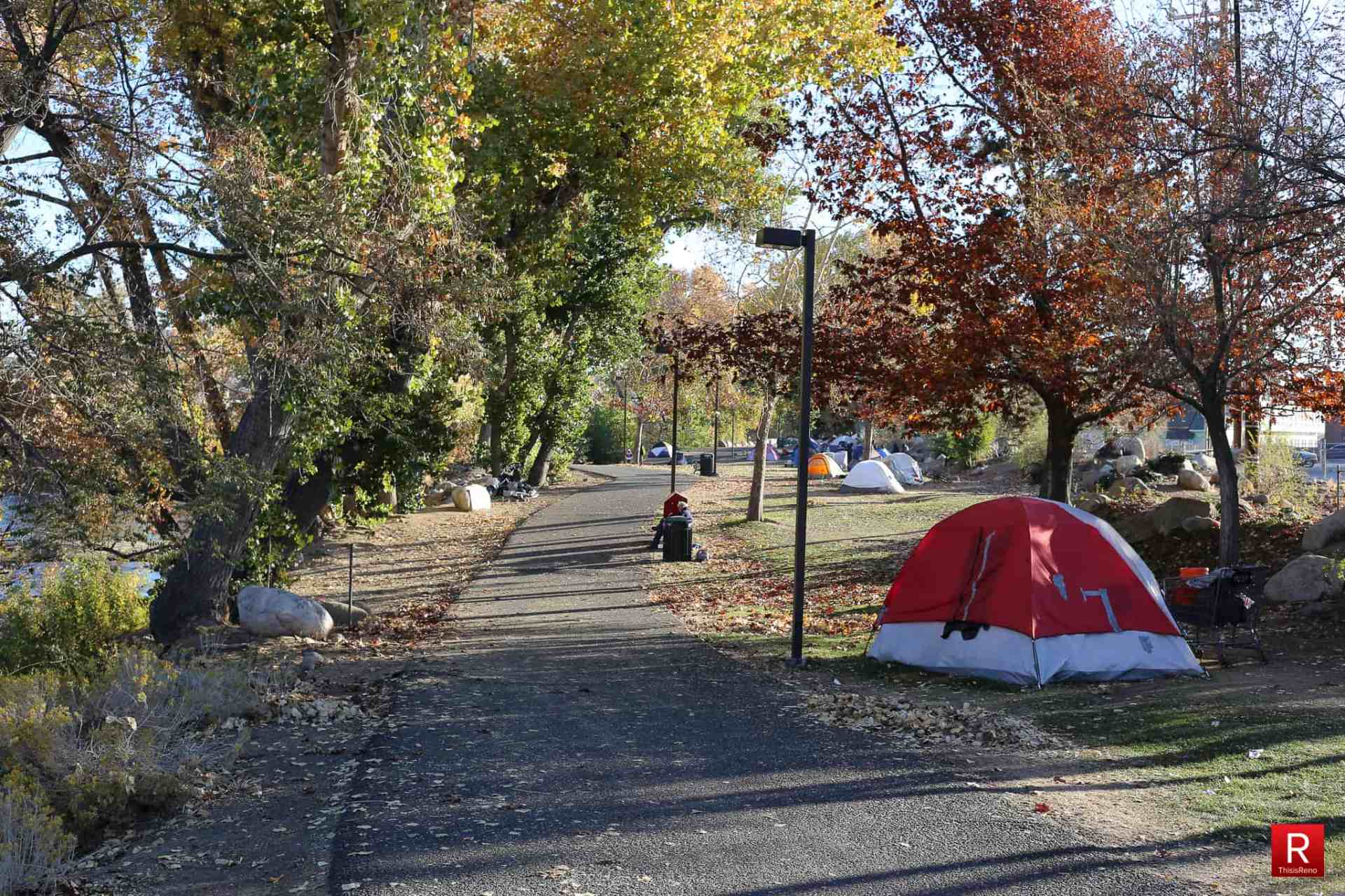 Homelessness in Reno, Nevada. Campers take over city park. Image: Bob Conrad / This Is Reno.