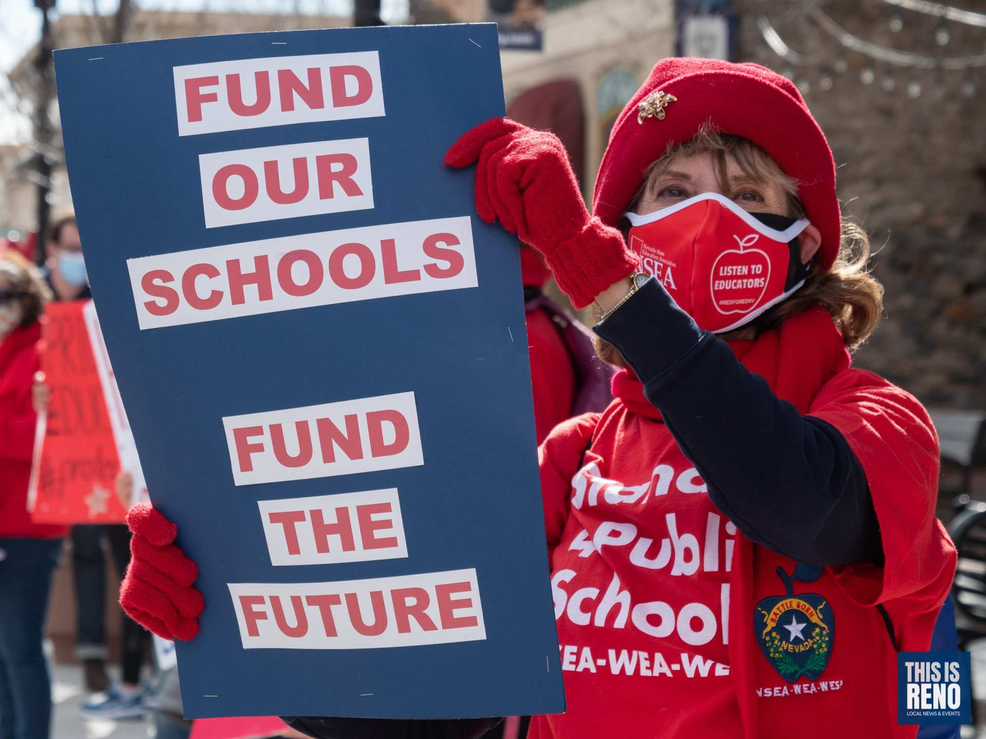 Educators rally for more funding from the Nevada Legislature in Carson City on Feb. 15, 2021. Image: Bob Conrad / This Is Reno.