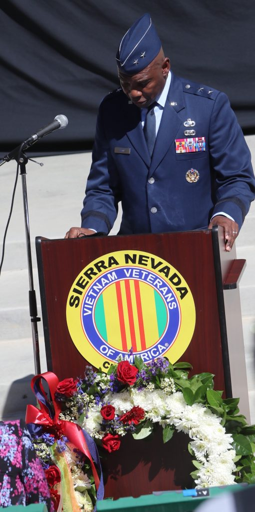 Maj. Gen. Ondra Berry, Nevada's a general, spoke at this year's National Vietnam War Veterans Day, which was held Sunday in Reno. Patriot Guard Riders carried in a wreath and placed it at the podium. Steve Ranson / LVN