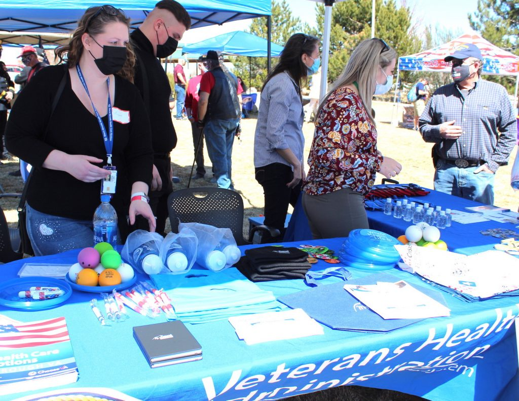 Outreach tables were set up before the official ceremony to answer questions for veterans. Charlotte LaCombe / LVN