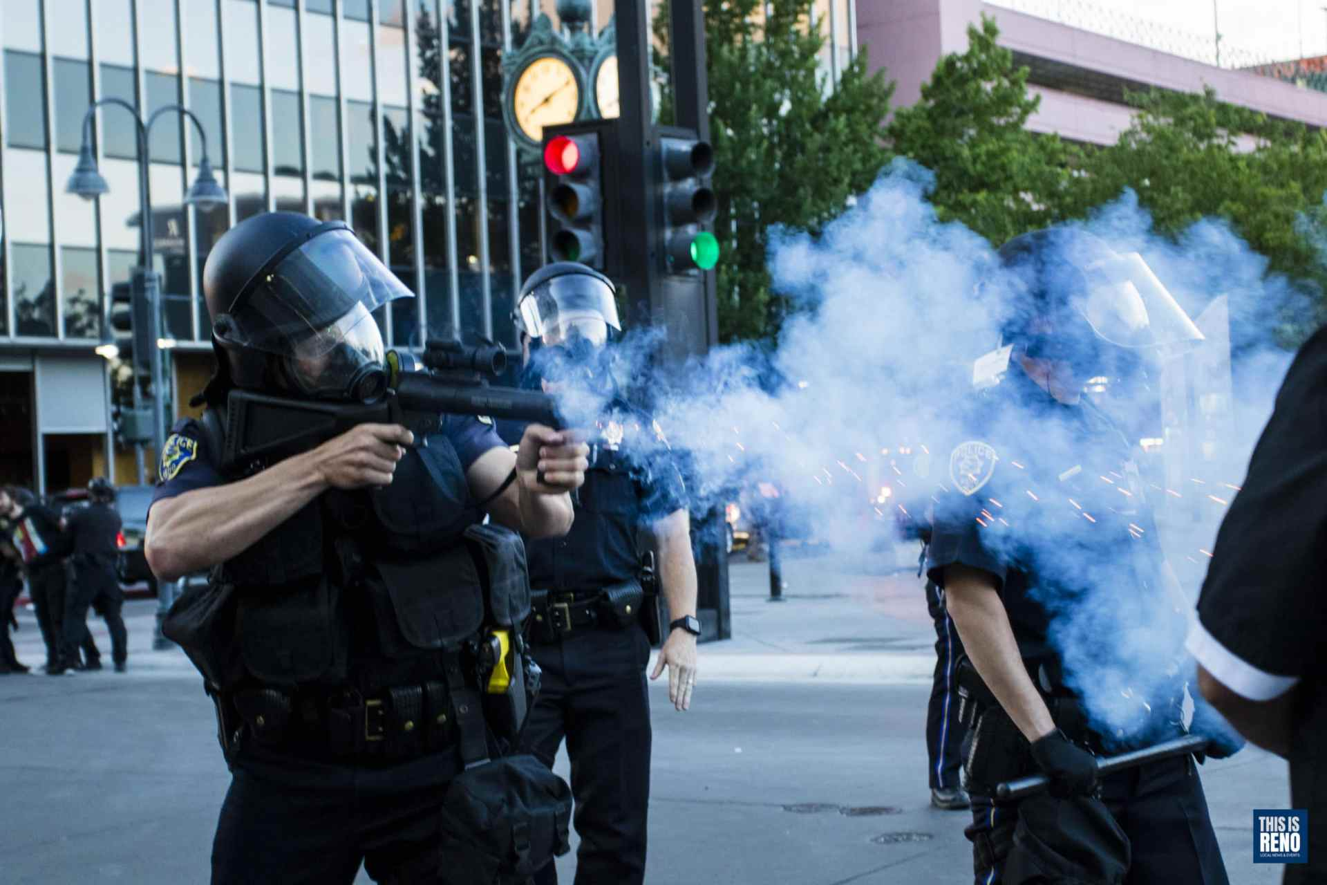Reno Police officers shoot rubber bullets at rioters on May 30, 2020 in Reno, Nev.