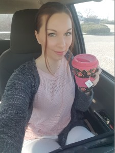 My travel cup from Amazon and I |neveralonemom.com