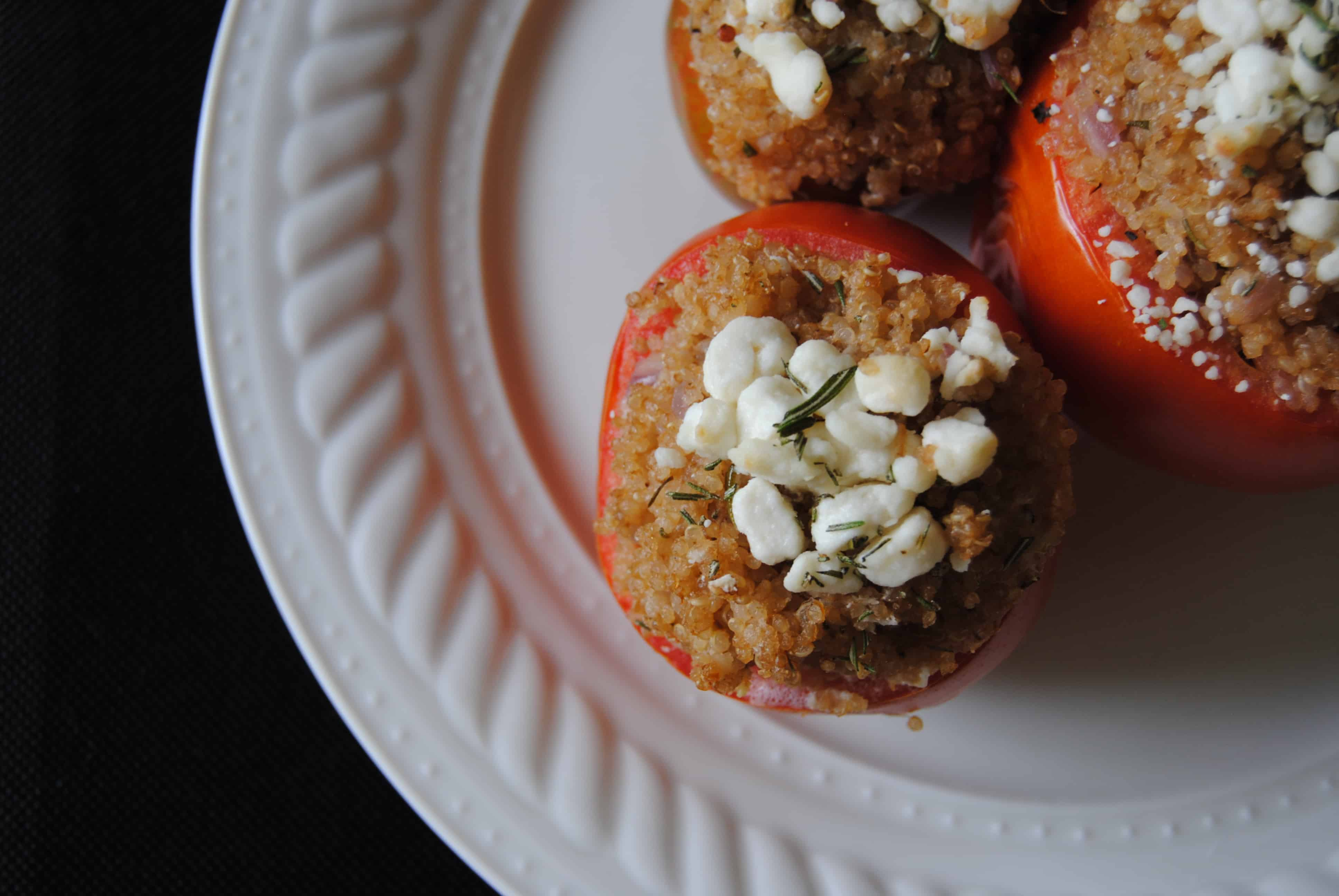 Quinoa and Goat Cheese Stuffed Tomatoes - Never Any Thyme