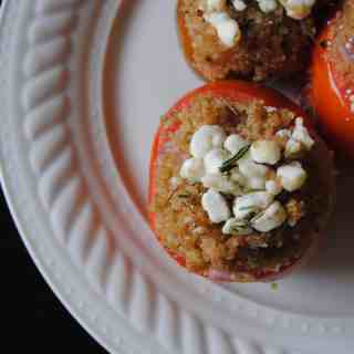 Quinoa and Goat Cheese Stuffed Tomatoes | NeverAnyThyme.com