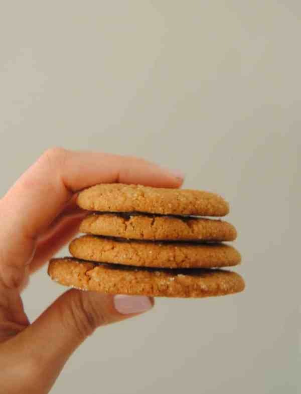 A stack of ginger cookies | neveranythyme.com