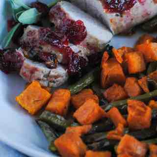 cranberry pork loin and roasted veggies