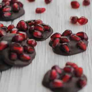 dark chocolate and pomegranate seeds