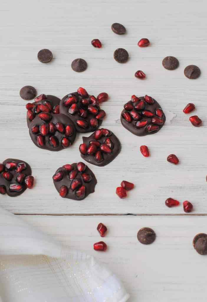 chocolate and pomegranate seeds