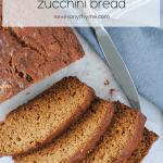 healthy zucchini bread slices on light background with knife