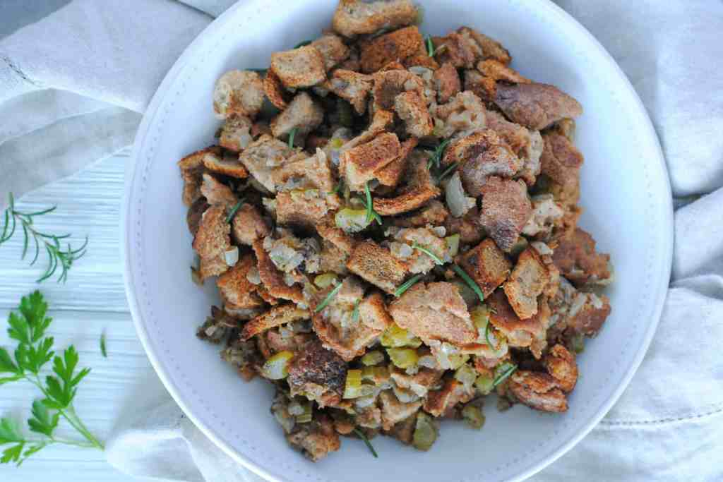 easy whole wheat stuffing in serving dish