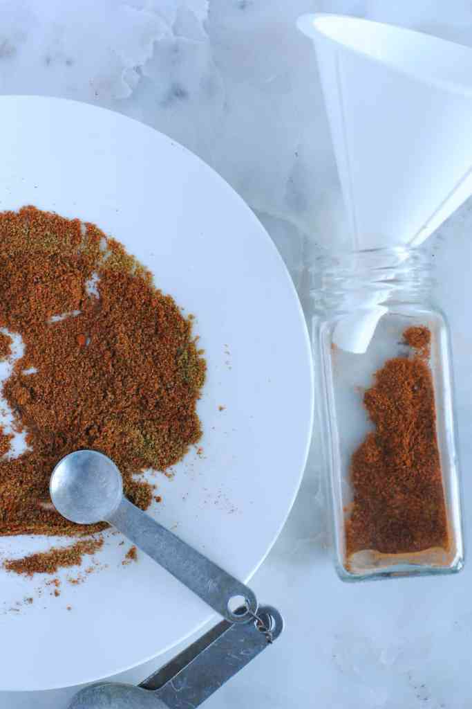 storing homemade spice mix in jar
