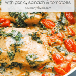 salmon, spinach and tomatoes in a creamy parmesan sauce