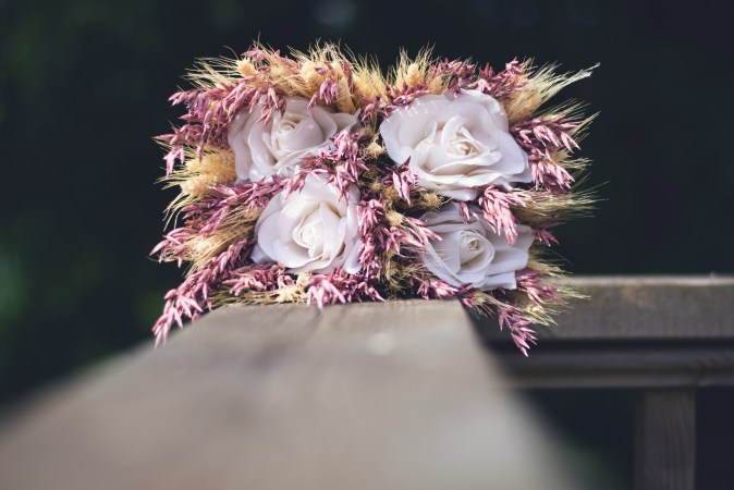 pink dried flower bouquet