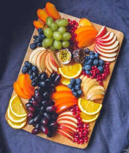 Red and Green Grape & Persimmon Fruit Platter