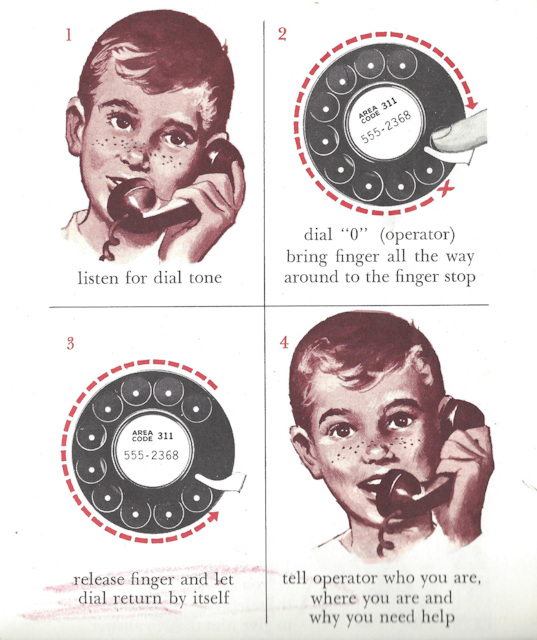 Child learning to use rotary phone