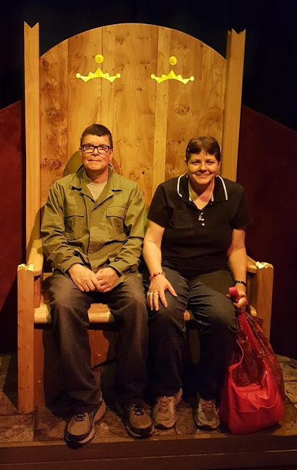John and Teresa on a large throne at Seattle's POP museum