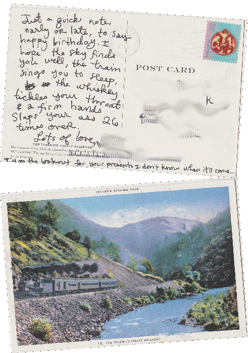 Train postcard with funny birthday wishes