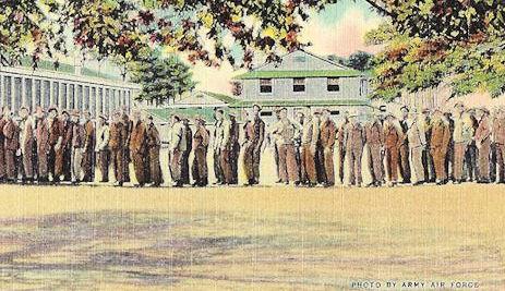 GIs in chow line Biloxi postcard WWII