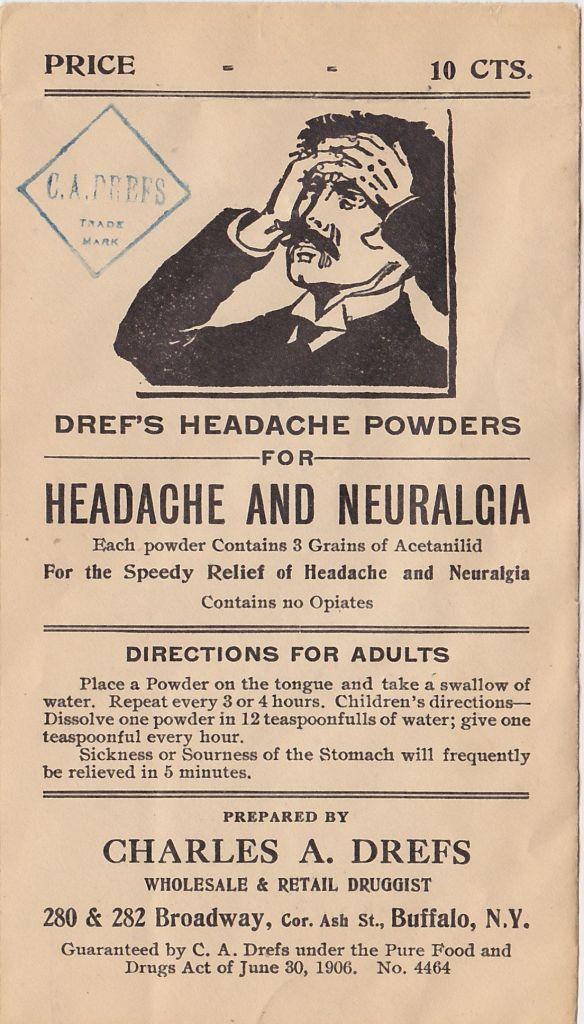 Dref's Headache Powder ad