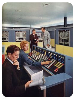 1960's data processing center, the guys are goofing off while the one woman working there does everyone's work for 70% of the pay.